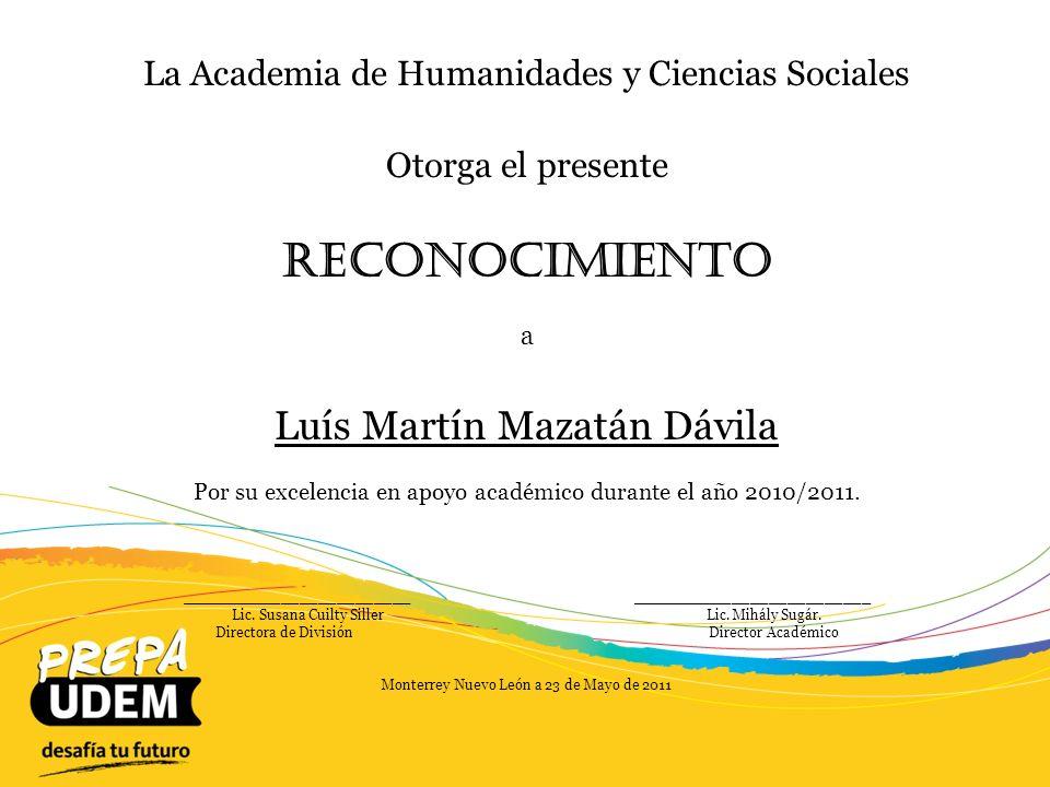 Reconocimiento Luís Martín Mazatán Dávila