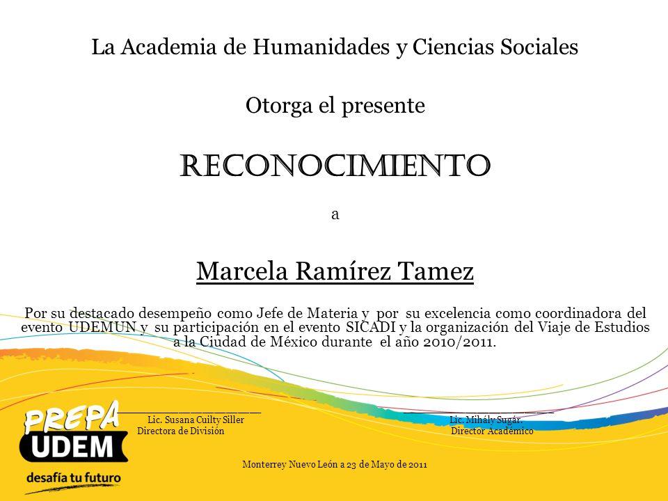 Reconocimiento Marcela Ramírez Tamez