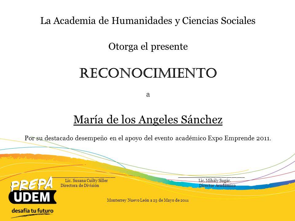 Reconocimiento María de los Angeles Sánchez