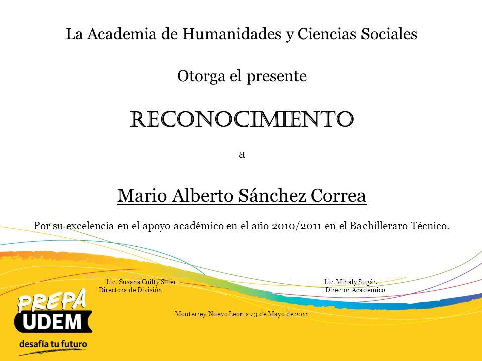 Reconocimiento Mario Alberto Sánchez Correa