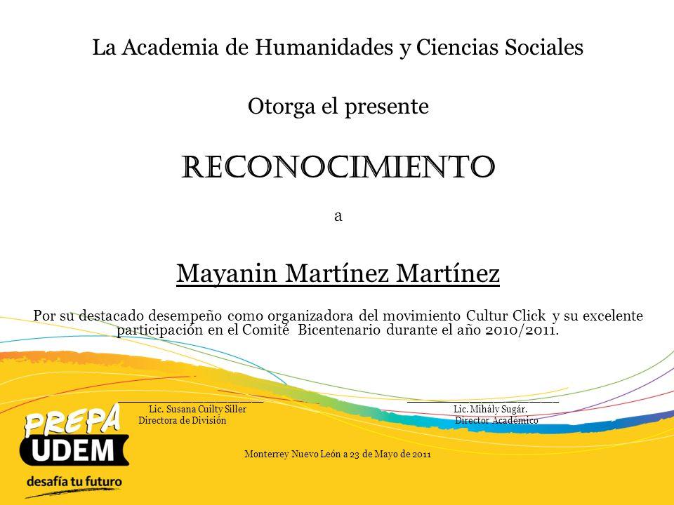 Reconocimiento Mayanin Martínez Martínez