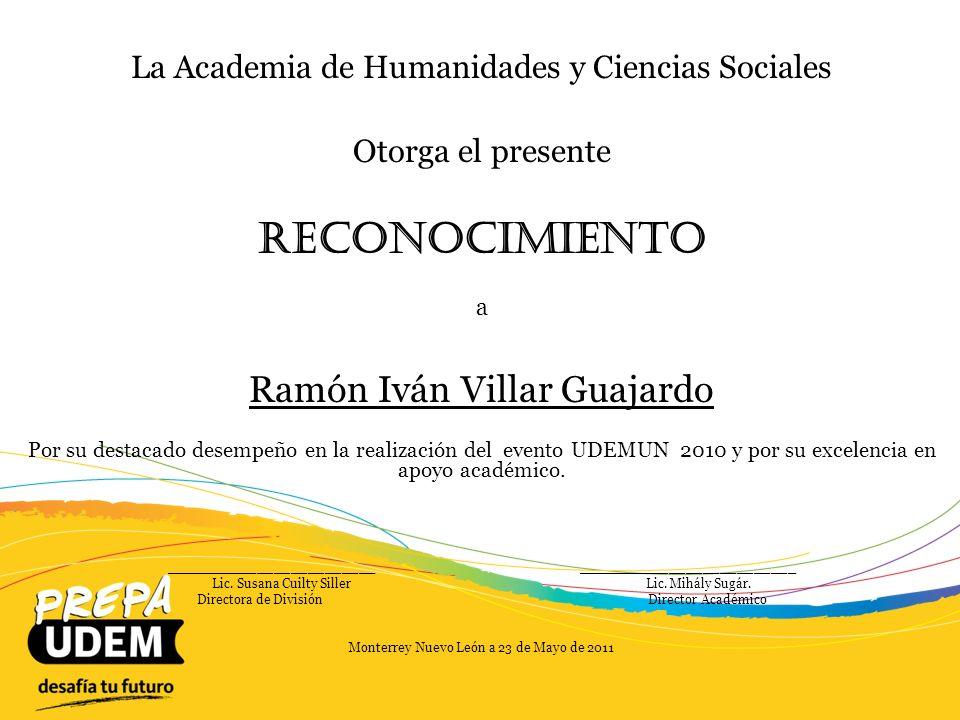 Reconocimiento Ramón Iván Villar Guajardo