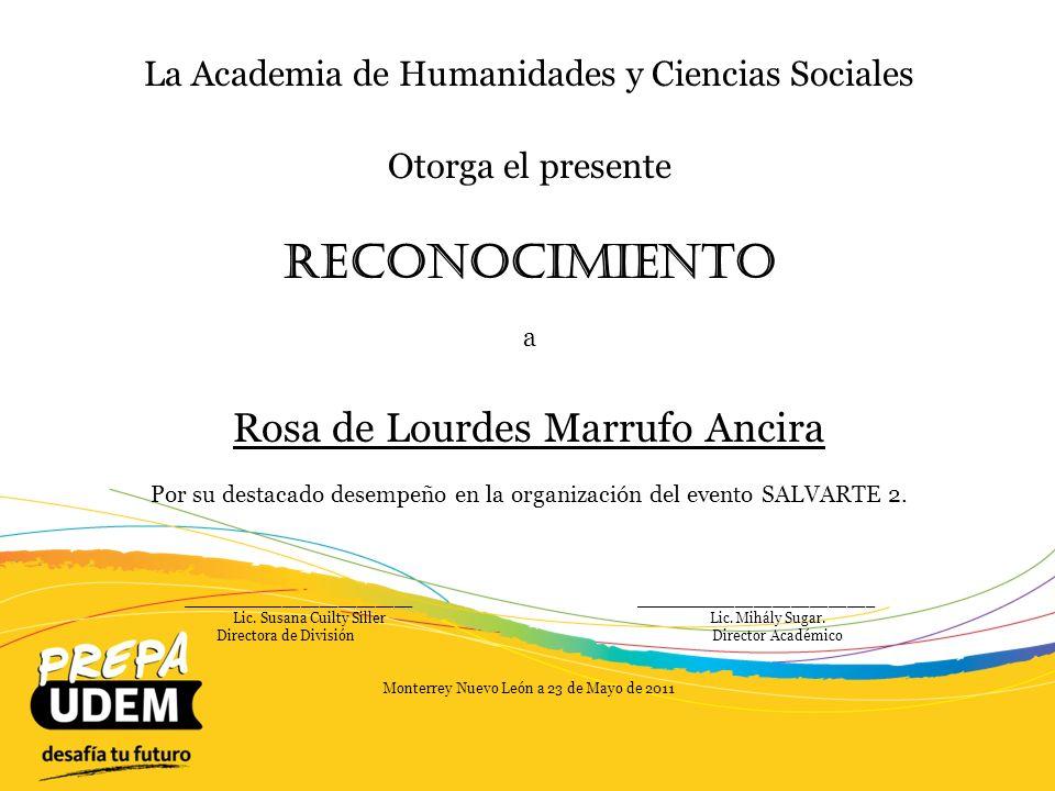 Reconocimiento Rosa de Lourdes Marrufo Ancira