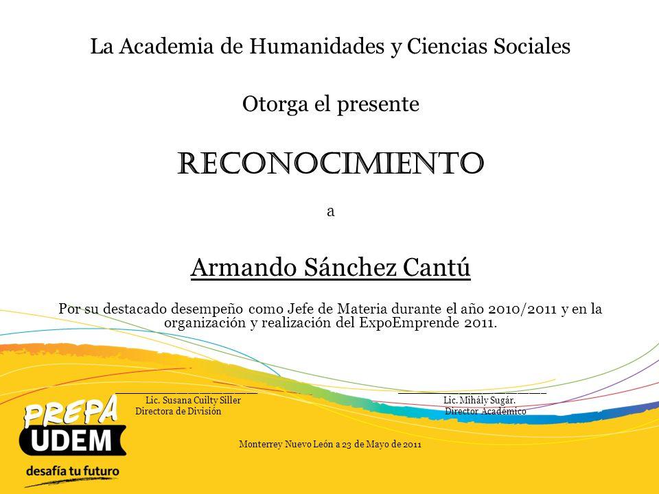 Reconocimiento Armando Sánchez Cantú