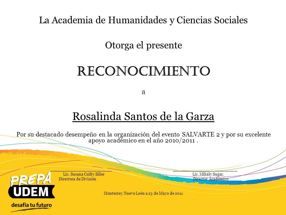 Reconocimiento Rosalinda Santos de la Garza