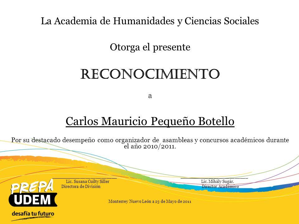 Reconocimiento Carlos Mauricio Pequeño Botello
