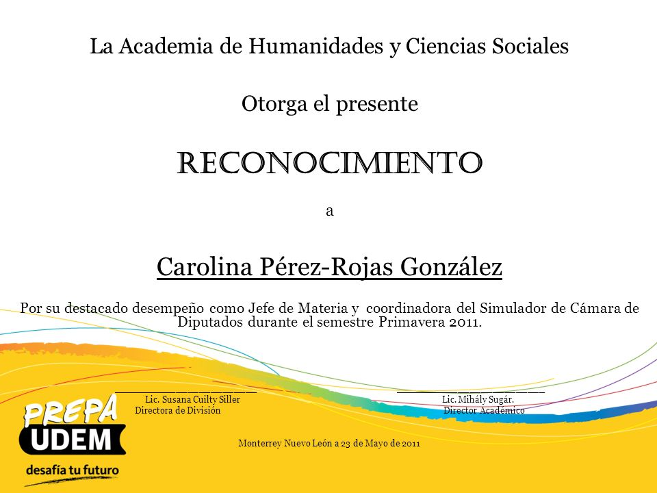 Reconocimiento Carolina Pérez-Rojas González