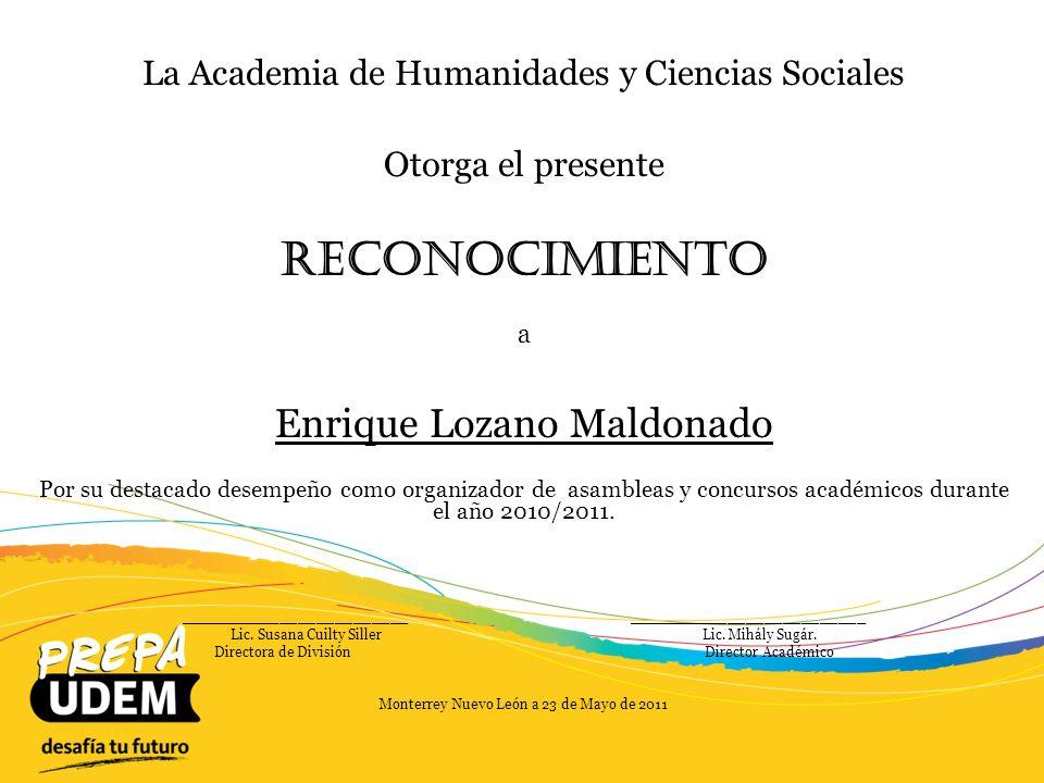 Reconocimiento Enrique Lozano Maldonado