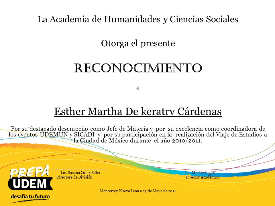 Reconocimiento Esther Martha De keratry Cárdenas