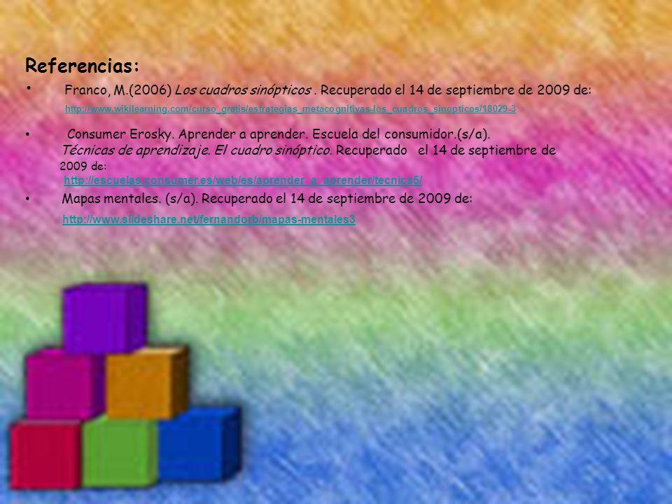 Referencias: Franco, M.(2006) Los cuadros sinópticos . Recuperado el 14 de septiembre de 2009 de: