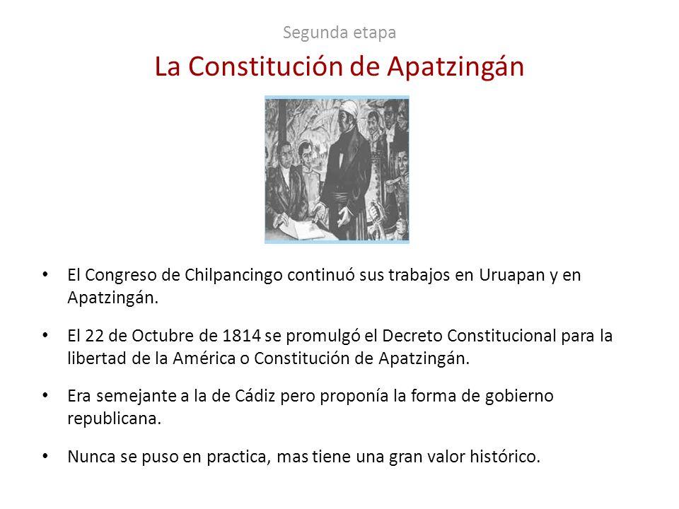Segunda etapa La Constitución de Apatzingán