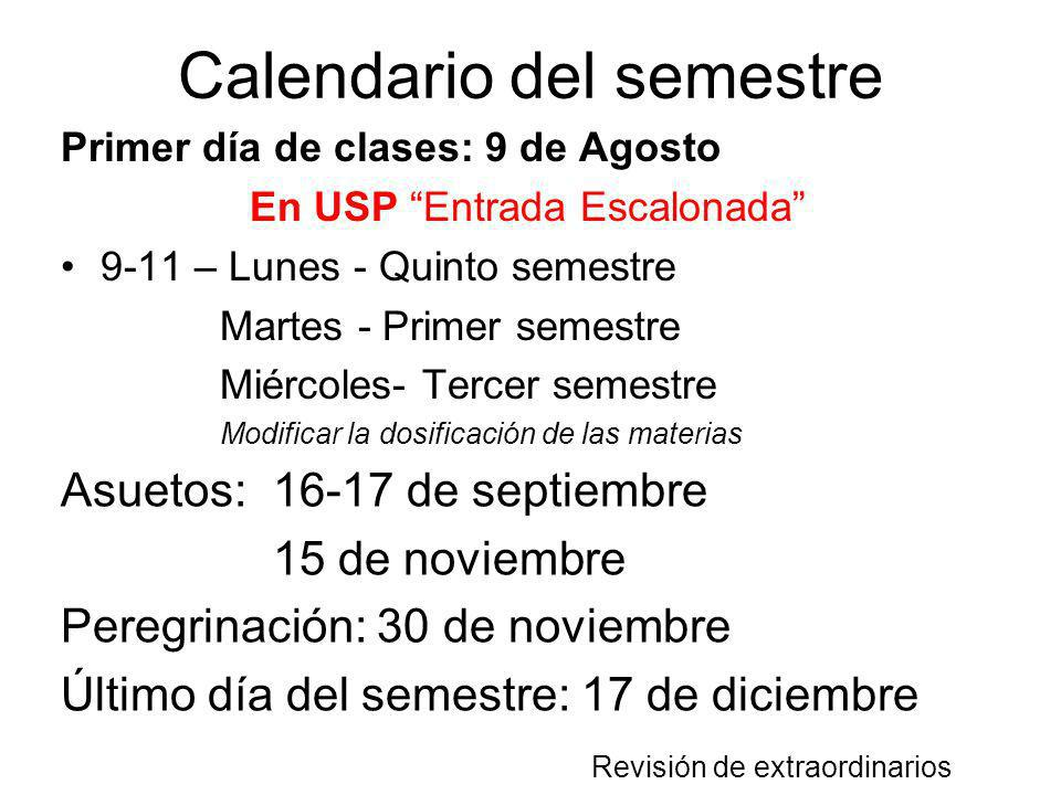 Calendario del semestre