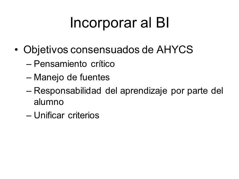Incorporar al BI Objetivos consensuados de AHYCS Pensamiento crítico