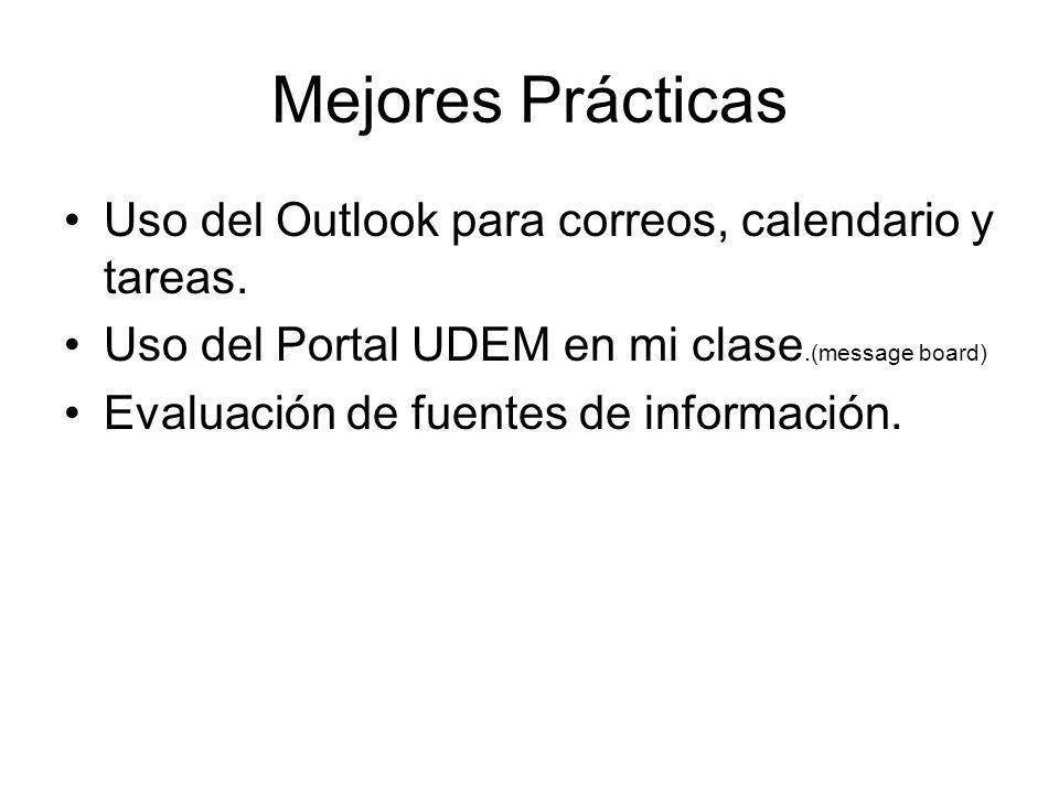 Mejores Prácticas Uso del Outlook para correos, calendario y tareas.