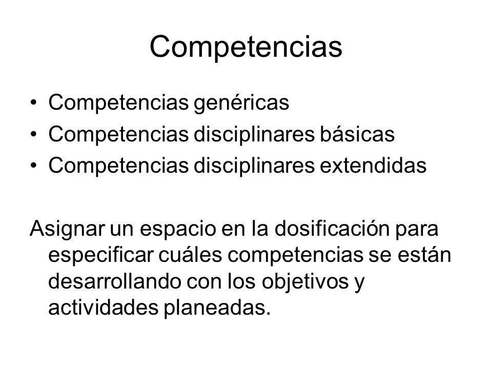 Competencias Competencias genéricas Competencias disciplinares básicas