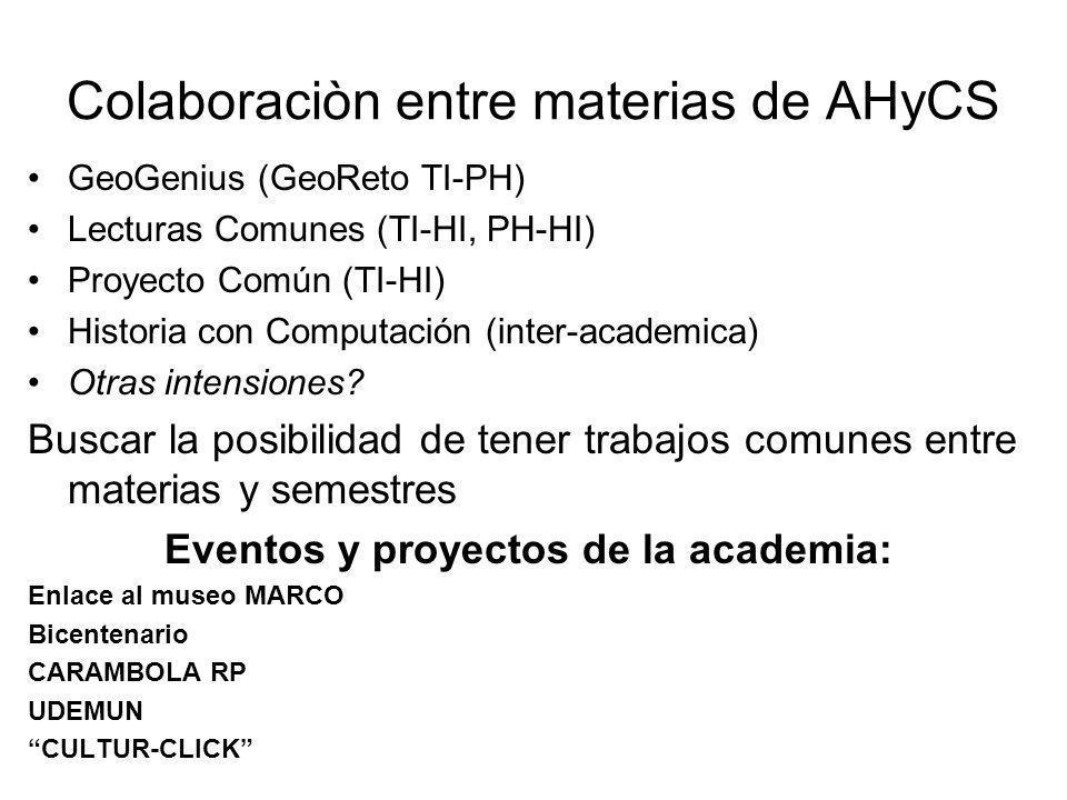 Colaboraciòn entre materias de AHyCS