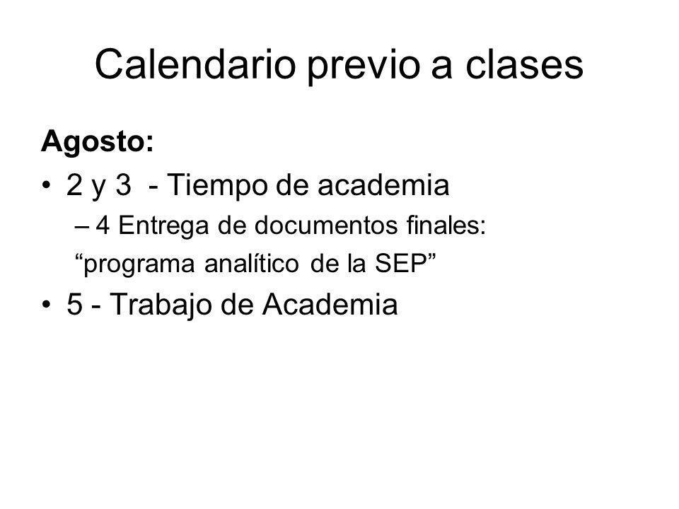 Calendario previo a clases