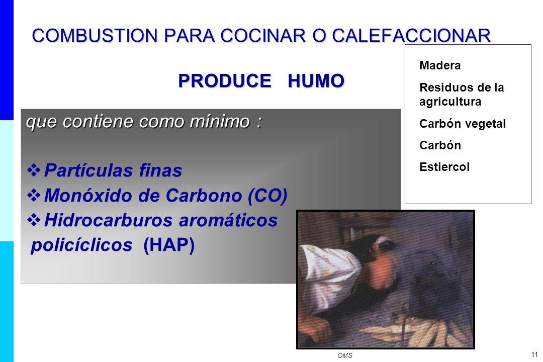 COMBUSTION PARA COCINAR O CALEFACCIONAR PRODUCE HUMO