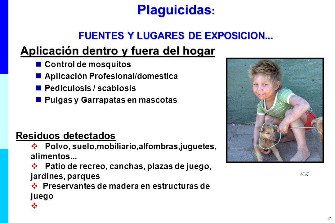 Plaguicidas: FUENTES Y LUGARES DE EXPOSICION...