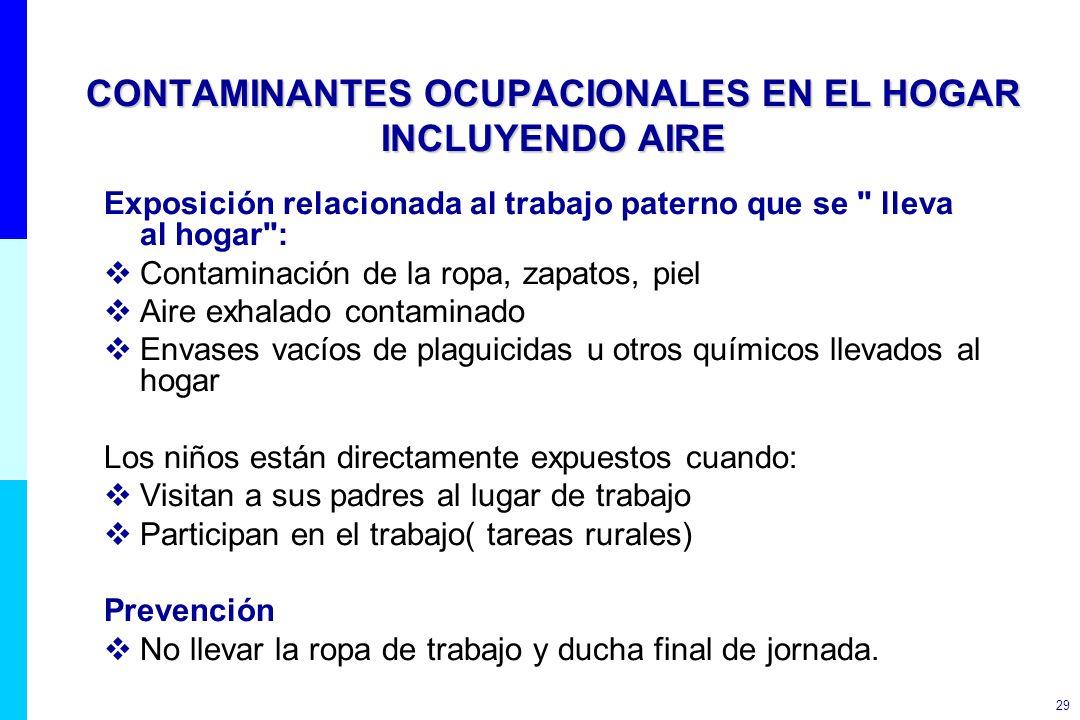 CONTAMINANTES OCUPACIONALES EN EL HOGAR INCLUYENDO AIRE
