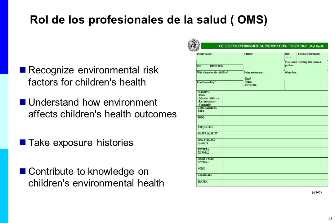 Rol de los profesionales de la salud ( OMS)