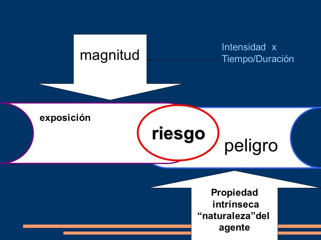 riesgo peligro magnitud Intensidad x Tiempo/Duración exposición