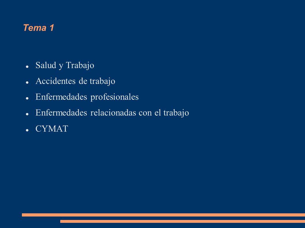 Tema 1 Salud y Trabajo. Accidentes de trabajo. Enfermedades profesionales. Enfermedades relacionadas con el trabajo.