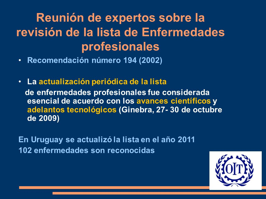 Recomendación número 194 (2002) La actualización periódica de la lista