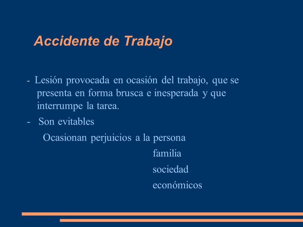 Accidente de Trabajo - Son evitables Ocasionan perjuicios a la persona
