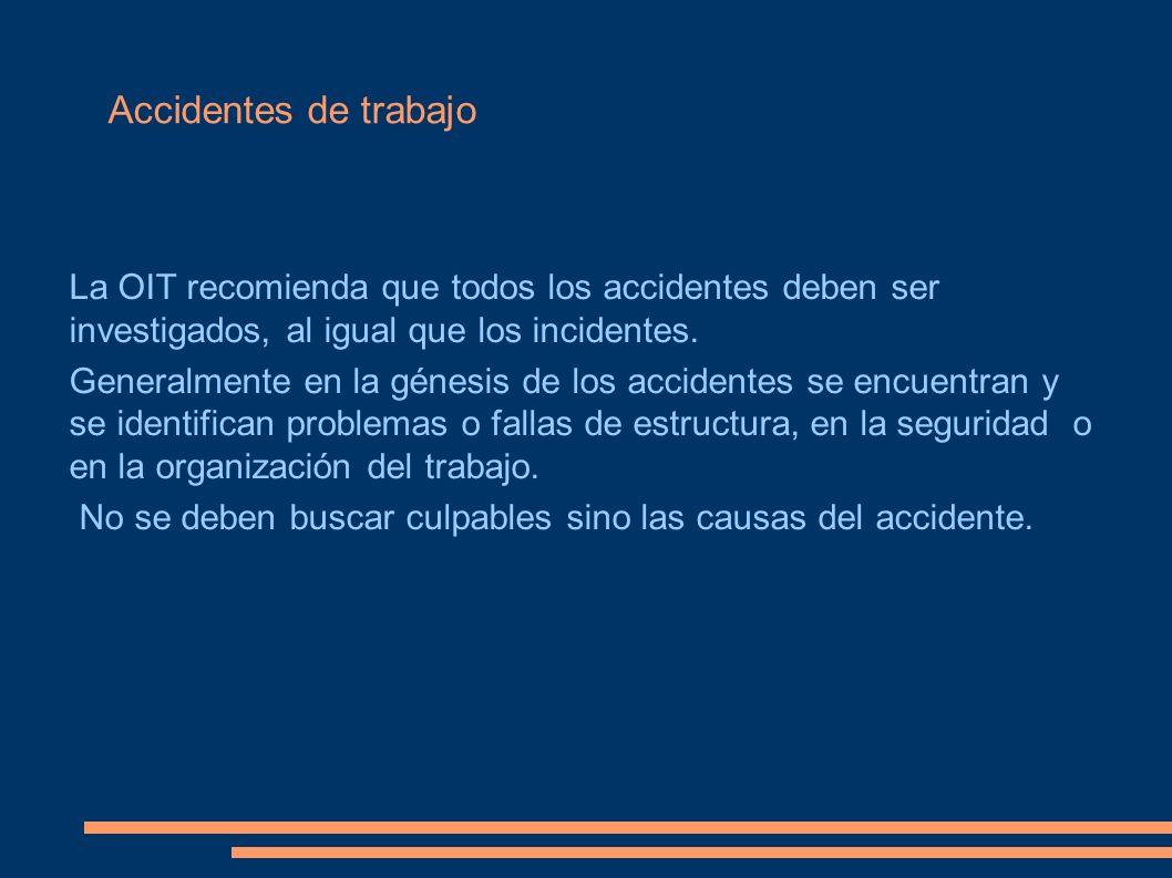 Accidentes de trabajoLa OIT recomienda que todos los accidentes deben ser investigados, al igual que los incidentes.