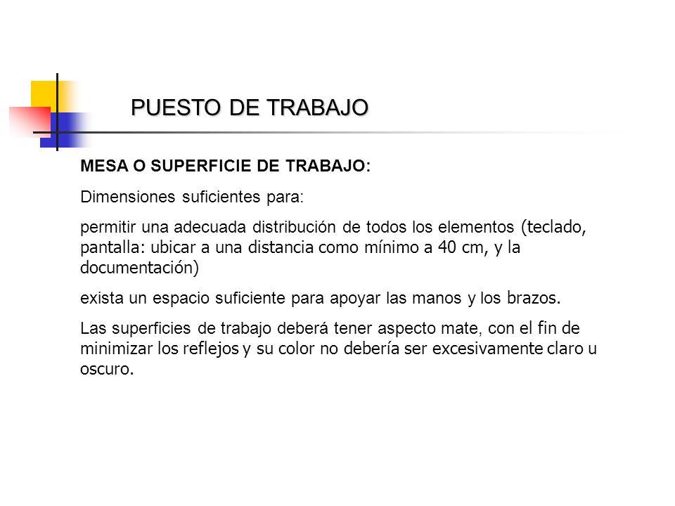 PUESTO DE TRABAJO MESA O SUPERFICIE DE TRABAJO: