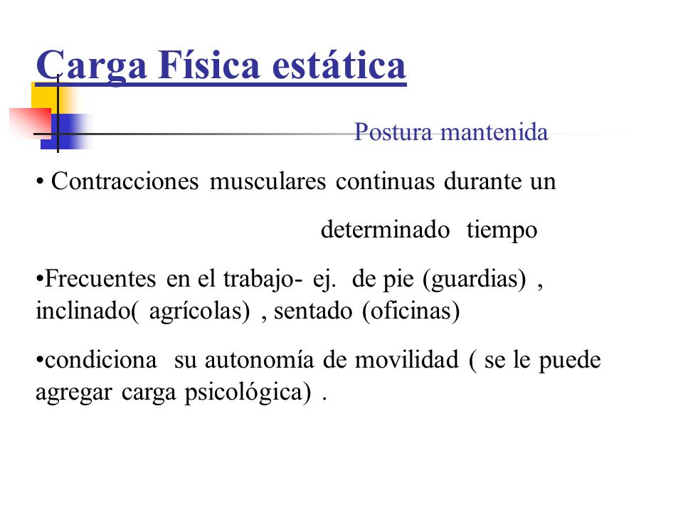 Carga Física estática Postura mantenida
