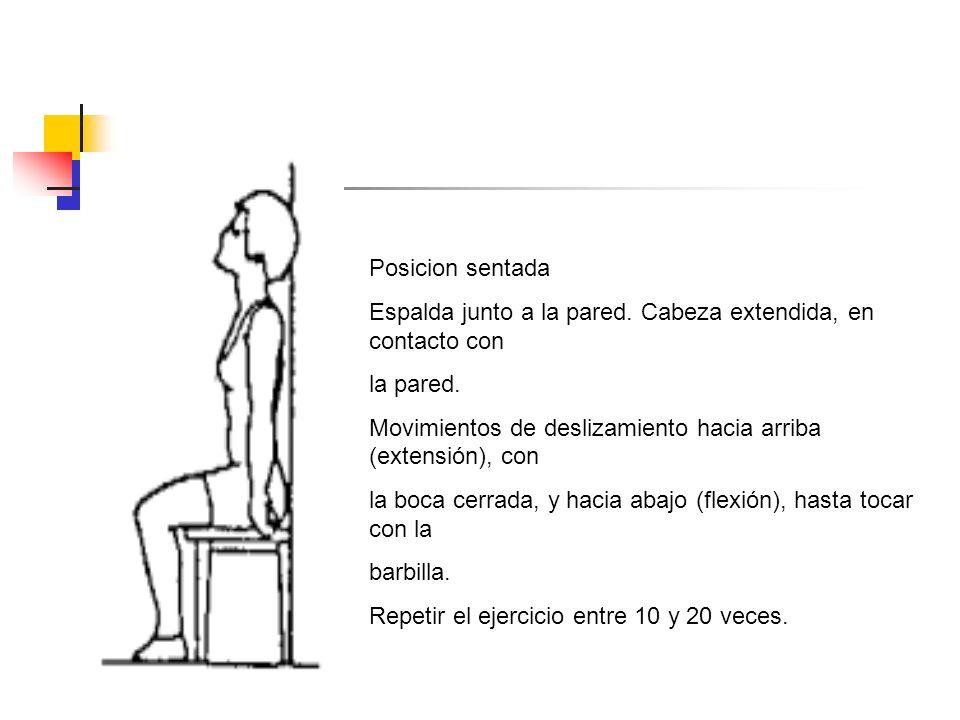 Posicion sentada Espalda junto a la pared. Cabeza extendida, en contacto con. la pared.
