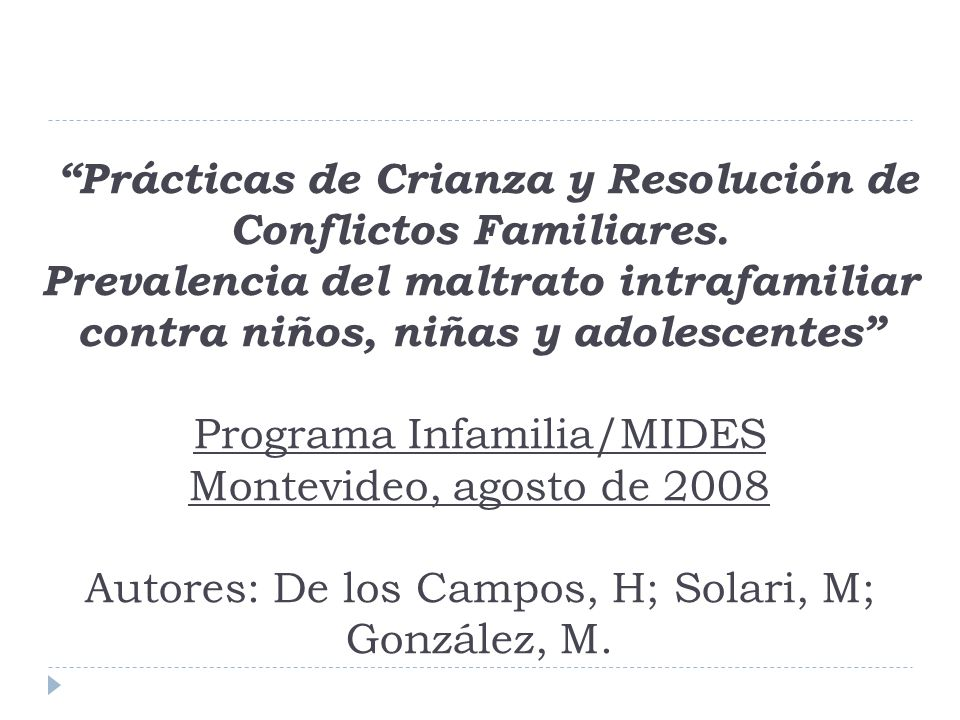 Prácticas de Crianza y Resolución de Conflictos Familiares