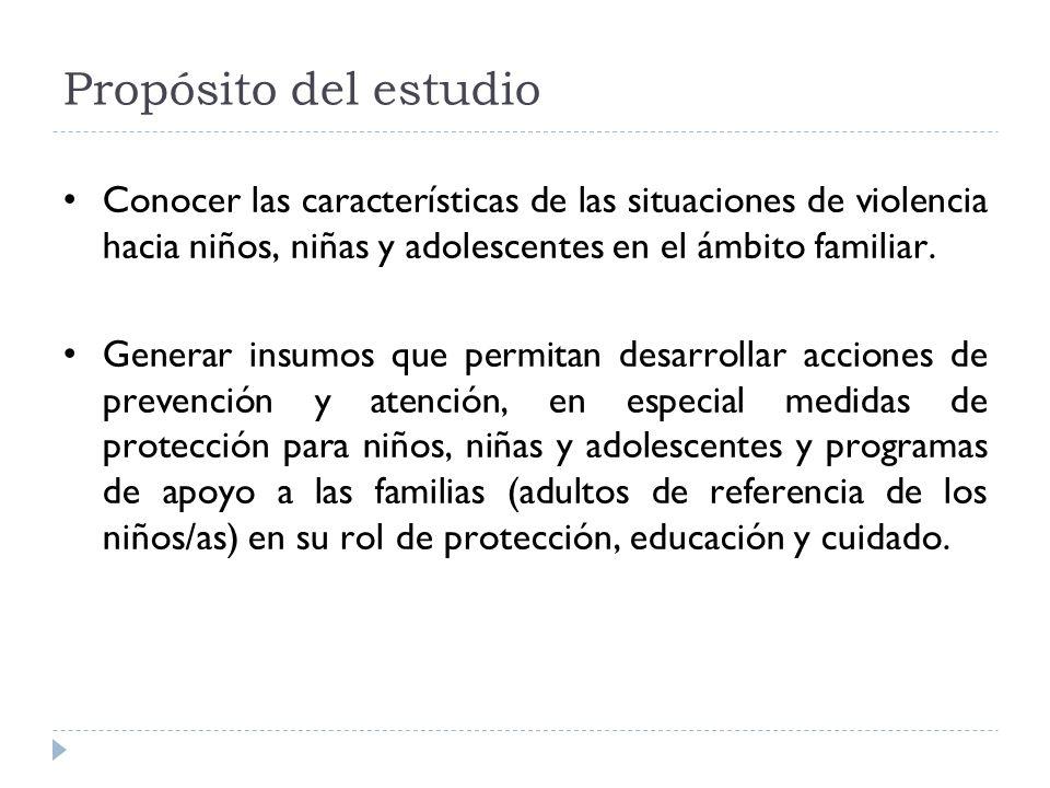 Propósito del estudio Conocer las características de las situaciones de violencia hacia niños, niñas y adolescentes en el ámbito familiar.