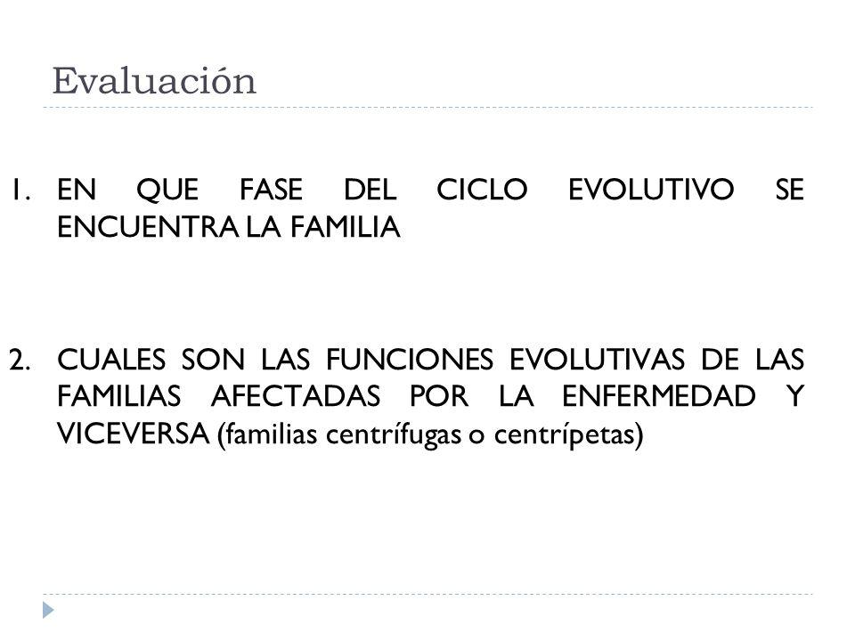 Evaluación EN QUE FASE DEL CICLO EVOLUTIVO SE ENCUENTRA LA FAMILIA