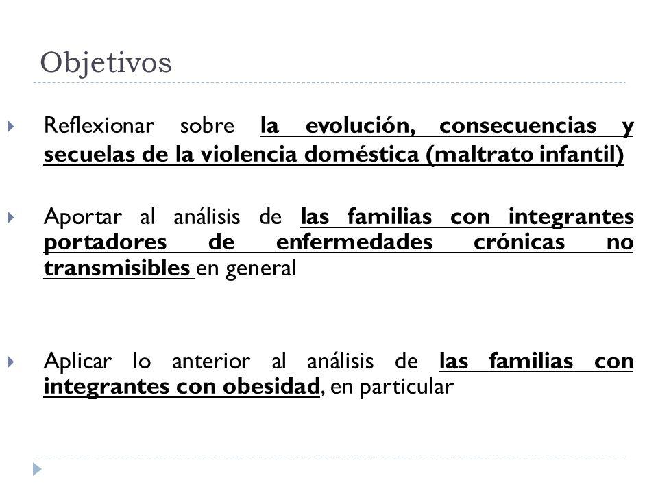 Objetivos Reflexionar sobre la evolución, consecuencias y secuelas de la violencia doméstica (maltrato infantil)