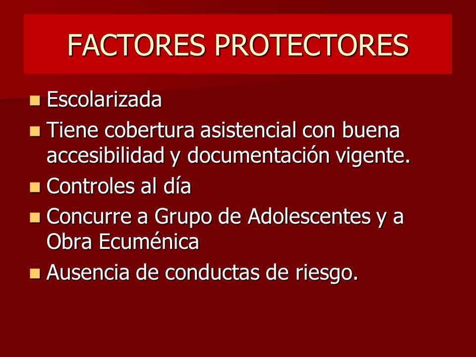 FACTORES PROTECTORES Escolarizada