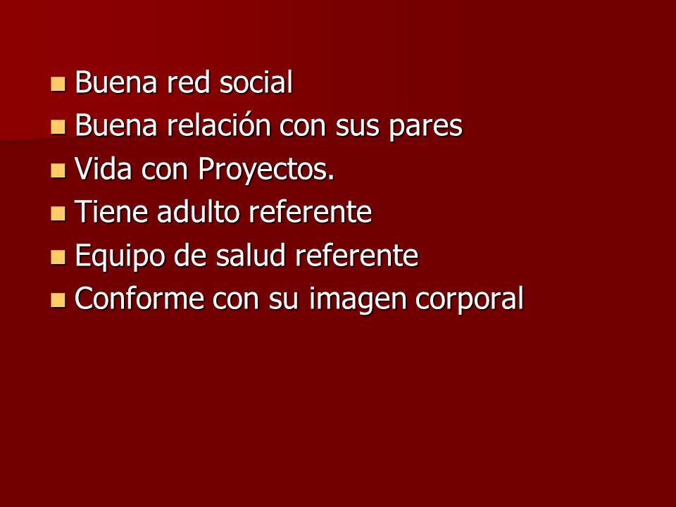 Buena red socialBuena relación con sus pares. Vida con Proyectos. Tiene adulto referente. Equipo de salud referente.