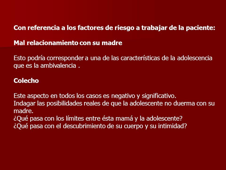 Con referencia a los factores de riesgo a trabajar de la paciente: