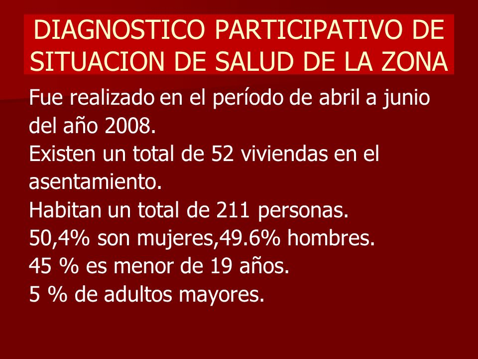 DIAGNOSTICO PARTICIPATIVO DE SITUACION DE SALUD DE LA ZONA