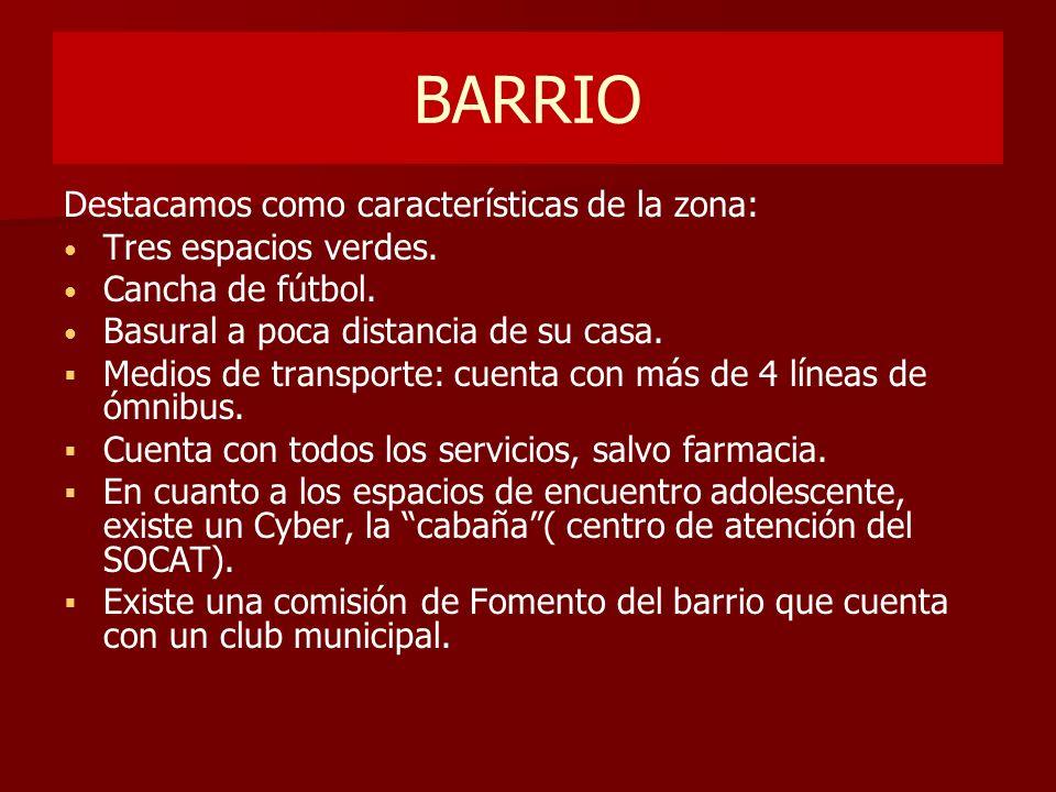 BARRIO Destacamos como características de la zona: