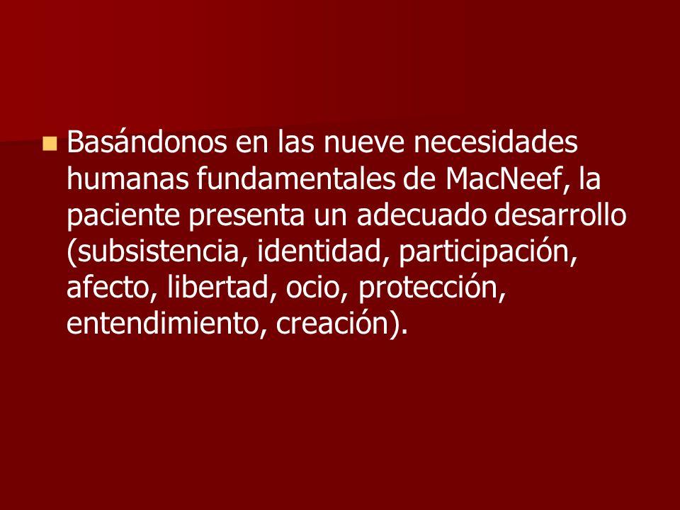 Basándonos en las nueve necesidades humanas fundamentales de MacNeef, la paciente presenta un adecuado desarrollo (subsistencia, identidad, participación, afecto, libertad, ocio, protección, entendimiento, creación).