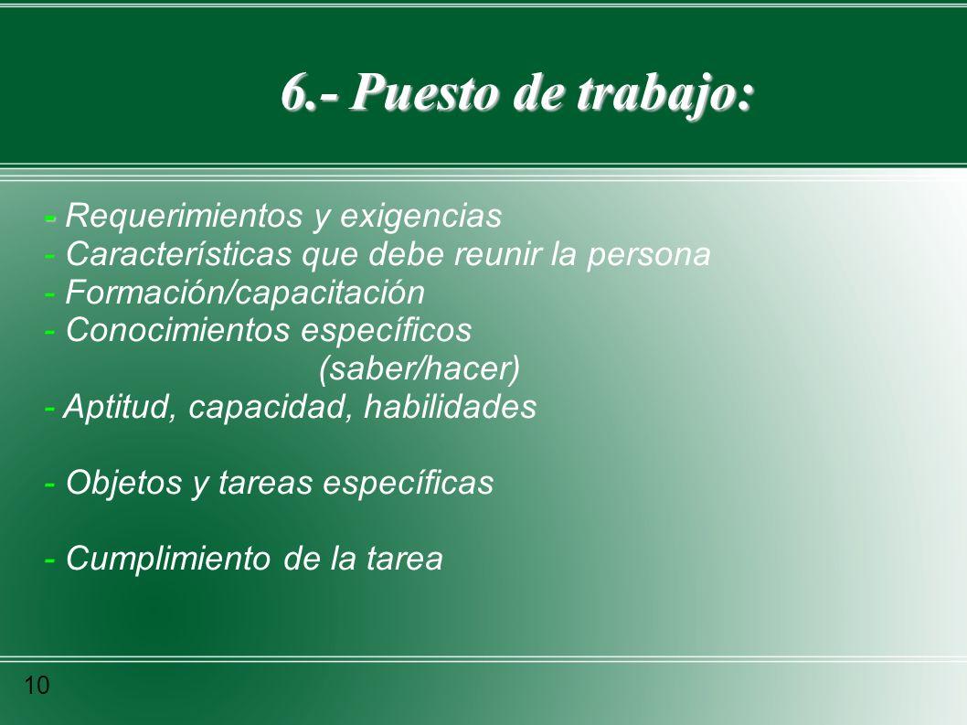 6.- Puesto de trabajo: - Requerimientos y exigencias