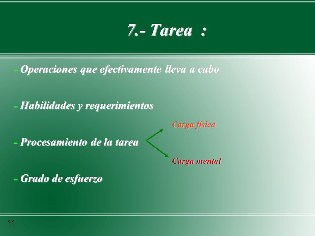 7.- Tarea : - Operaciones que efectivamente lleva a cabo