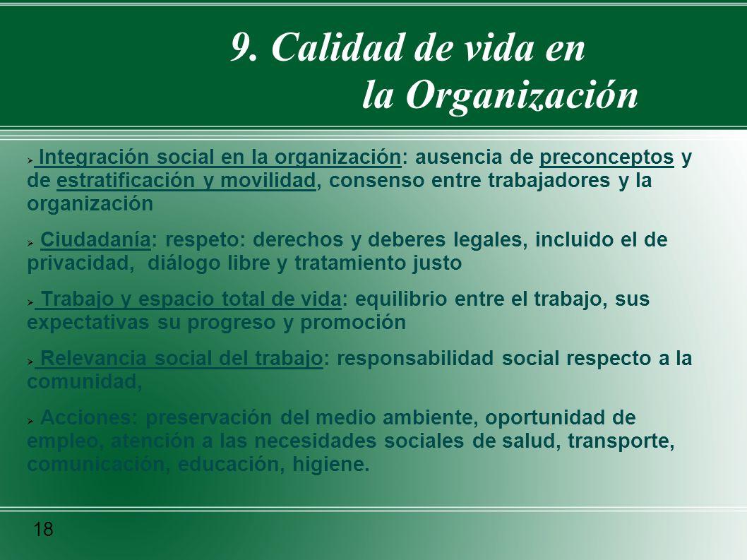 9. Calidad de vida en la Organización