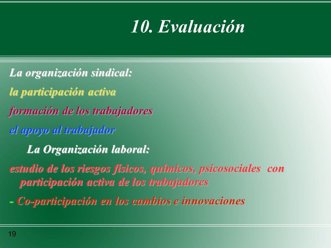 10. Evaluación La organización sindical: la participación activa