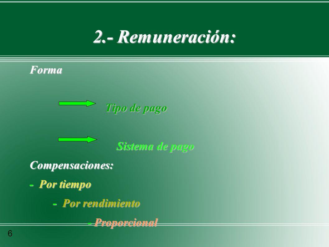 2.- Remuneración: Forma Tipo de pago Sistema de pago Compensaciones: