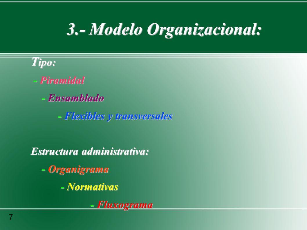 3.- Modelo Organizacional: