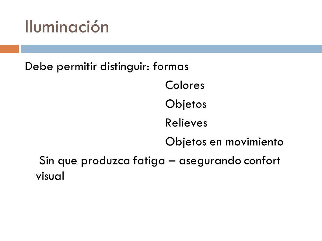 Iluminación Debe permitir distinguir: formas Colores Objetos Relieves